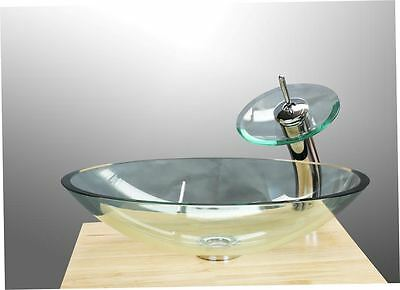 Bathroom Cloakroom Clear Squared Shaped Tempered Glass Basin Sink