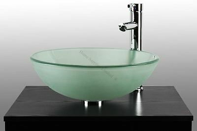 Bathroom Cloakroom Round Shaped Tempered Glass Basin Sink