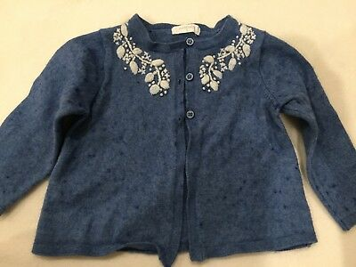 Purebaby Girl's Blue Emroidered Wool Mix Knitted Cardigan Size 1