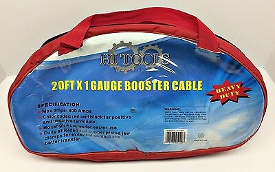 1 Gauge 20 Ft 800 Amp - Heavy Duty Commercial Jumper Booster Cable