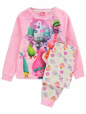 Trolls Fleece Pyjama set Fleece top Jersey bottoms Pyjamas Size 2-11 years pink