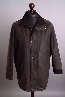 Men's BARBOUR Newhampshire Black Vintage Waxed Jacket Size L