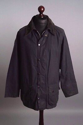 Men's BARBOUR Border A 205 Blue Navy Vintage Waxed Jacket Size C 44 / 112