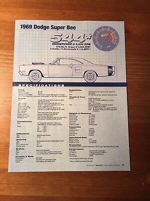 1969 Dodge Super Bee Specification Sheet