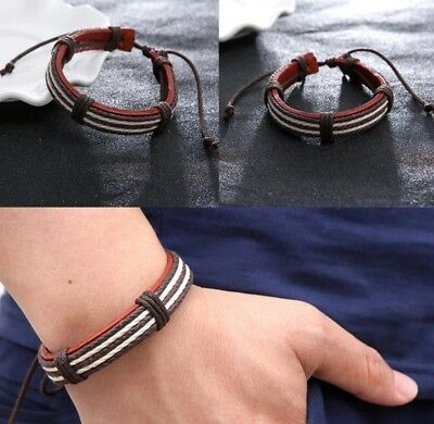 Wax Ropes Fashion Brown Leather WRISTBAND BRACELET CUFF  Charm GIFT