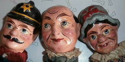 c19th  Punch &Judy paper mache fantastic  CHARACTER MARIONETTEN /PUPPETS