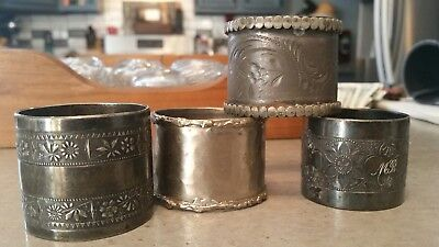 Lot Of 4 Vintage Silver-Plate Napkin Rings, Various Designs & Sizes (RF564)