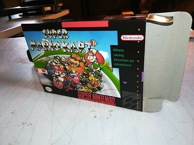 Super Mario Kart Box Only, SNES Nintendo Replacement Box/Art Case !!!