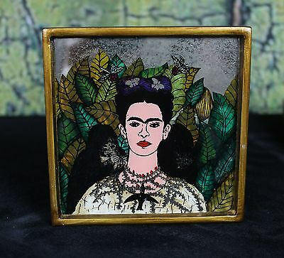 Frida Kahlo in a Thorn Necklace Hand Painted on Mirror Gold frame Peru Folk Art