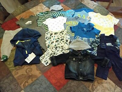 18pc Lot of Baby Boy Clothes Size NB Newborn