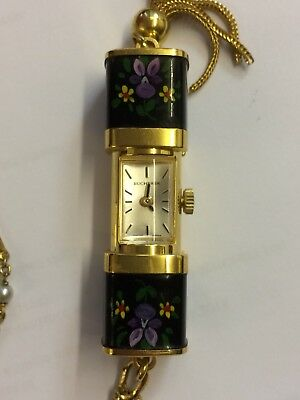 "Vintage Bucherer Pained Flowers Design Slide Pendant Watch On 26"" Chain"