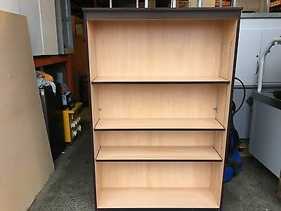 Office Bookcase Beech 3 Adjustable Shelves