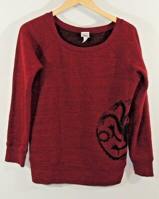 Official Hbo Game Of Thrones Red Womens Sweatshirt Size Large Dragon Graphic