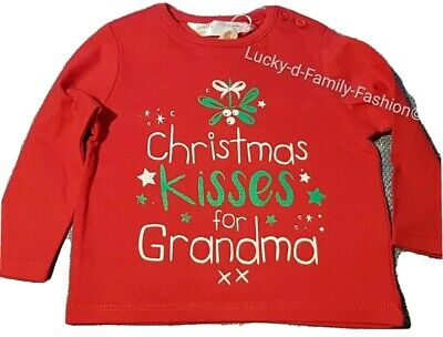 NEW M&Co red long sleeve Grandma Christmas kisses top Age 0-3 Months Xmas