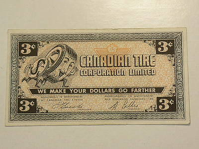 Canadian Tire Coupon 1961 Three 3 Cents AU/UNC #G7457