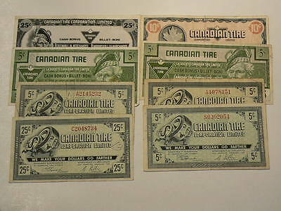 Canadian Tire Coupons Lot of 8 Notes 5 10 & 25 Cents #G7456