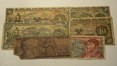 Mexico Lot of 6 Banknotes 1914 to 1973 1 5 10 20 & 100 Pesos #G7460