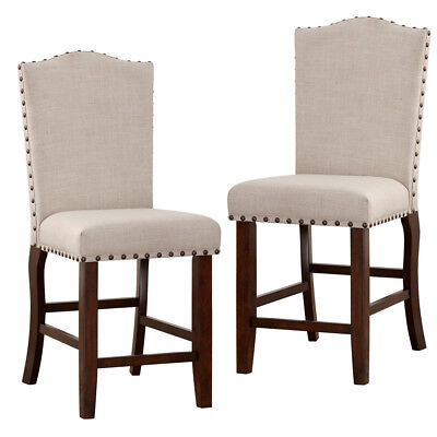 Surprising Biony Tan Fabric Counter Height Stools With Nailhead Trim Andrewgaddart Wooden Chair Designs For Living Room Andrewgaddartcom