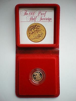 1980 Royal Mint Uk Gold Proof Half Sovereign - With Box & Coa