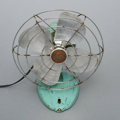 Vintage 1940's/50's Teal Metal Fan Mid-Century Art Deco Base Working Wall Mount