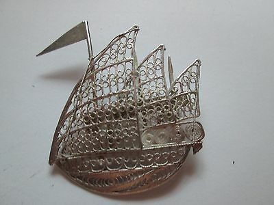 Silver Filigree Sailing Vessel Brooch Made In Italy Marked 925