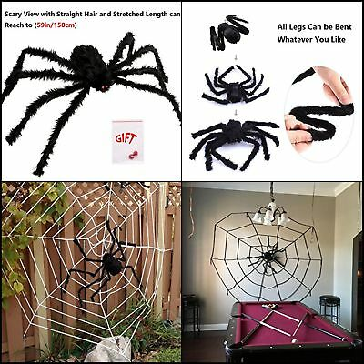 "59"" Giant SPIDER Decor House Haunted Outdoor Yard Halloween Hanging Decoration"