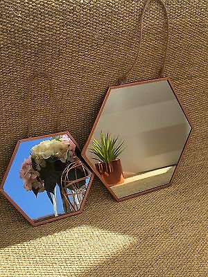Striking Copper Hanging Mirror,  Small Or Large,Hexagon,Rope, RoseGold,Metal