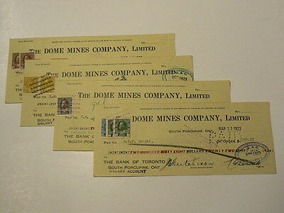 1923 Bank of Toronto Dome Mines Company 4 Cheques with Stamps #G7472