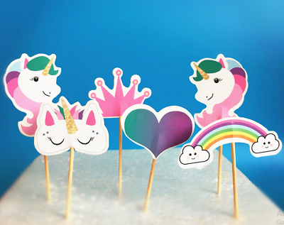 24pcs Unicorn Horse candy bar cupcake toppers kids birthday party decoration