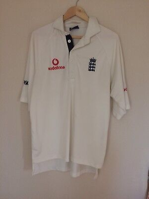"""Asics England Cricket Test Shirt XL 23"""" Pit To Pit Used Bobbled"""
