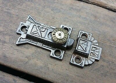 Vtg Old Antique Cast Iron EASTLAKE Cabinet Cupboard BRASS Pull Knob Latch /