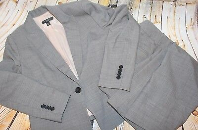 New Le Suit Pant Suit Size 4 Gray Striped Set Poly Lined Work Macy S