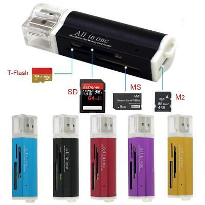 For Micro SD SDHC TF M2 MMC MS PRO DUO All in 1 USB Multi Memory Card Reader K0