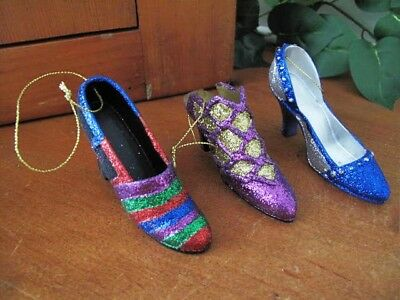 Christmas High Heel Shoe Ornaments - Three ~ Glitter and Bling