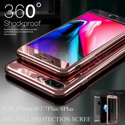 360° Mirror Shockproof Case Hybrid Tempered Glass Cover For Apple iPhone 8 7 6s