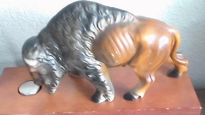 Beautiful, Vintage, Large Ceramic Buffalo Figurine, Matte Finish ~ Made In Japan