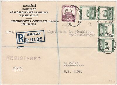 Palestine: Airmail Cover; Czechoslovak Consulate General, Jerusalem, 3 July 1935