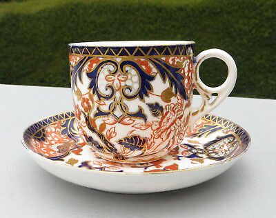 Antique Royal Crown Derby, 'Kings' Pattern 383, Cup & Saucer  a/f