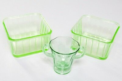 Lot of 3 Green Depression Glass Items 2 Square Dishes & 1 Double-Handle Cup NICE