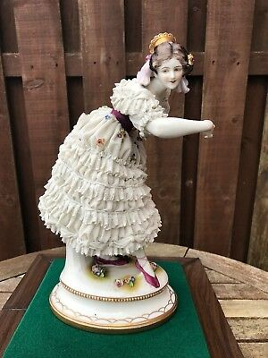 Rare Large Volkstedt German Figure Of Dresden Lace Dancing Lady - C.1900