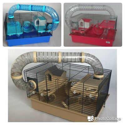 Cage for hamster or gerbil - with accessories  blue, beidge, pink