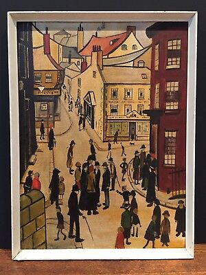 In The Manner Of LS Lowry Oil On Board Mid Century Vintage Painting Art