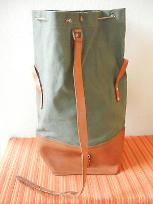 Unused Vintage Swiss Army Military Sea Bag Seesack CH green Canvas + Leather