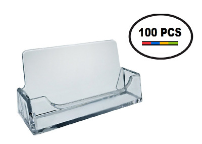 100 PK Acrylic Plastic Business Card Holder T'z Tagz Style, Clear Display Stand