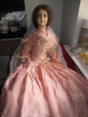 Antique 1800's to Early 1900's Composition Cloth Body Boudoir Bed Doll