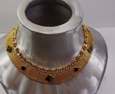 Vintage Egyptian Style Gold Plate Mesh Metal Chain Cleopatra Choker Necklace