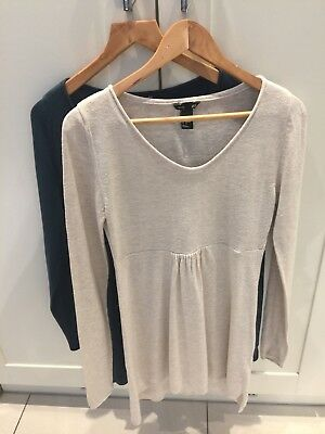 H&M Bundle -Maternity- Size S 10 -Thin Cream and Green Jumper