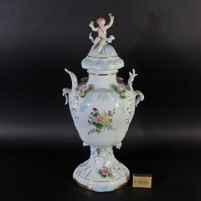 HUGE beautiful Sitzendorf Thüringen porcelain vase children figurine water lily