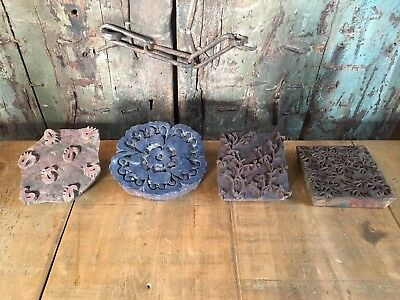 Large Vintage Indian Wood Printing Block Fabric Textile Stamp