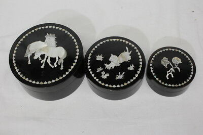 Set of 3 Black Lacquer Nesting Boxes w/Mother-of-Pearl Inlay: Roses, Cat, Horses